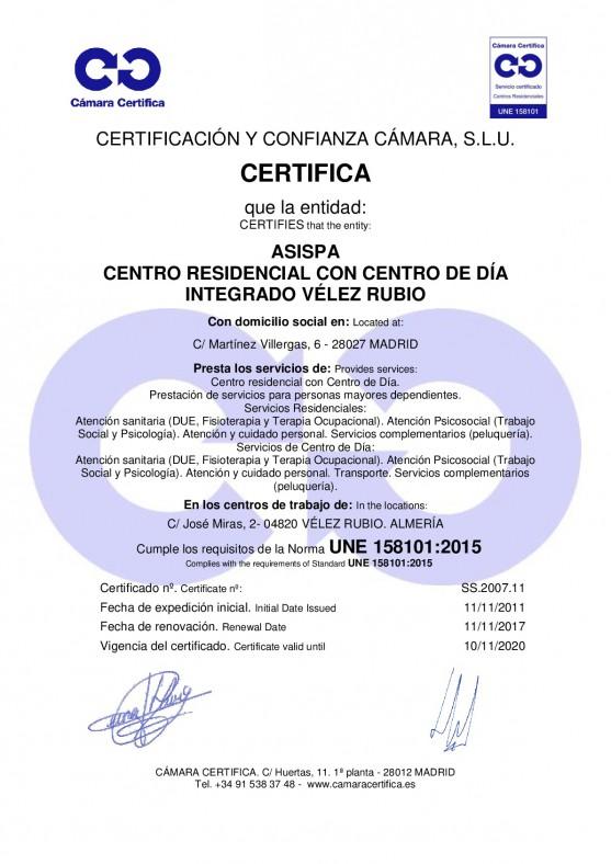 Certificacion Velez Rubio