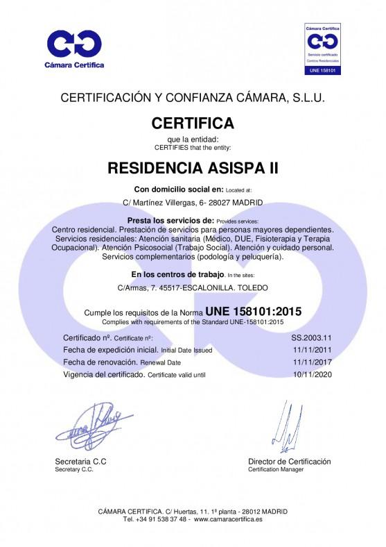 Certificado Asispa 2
