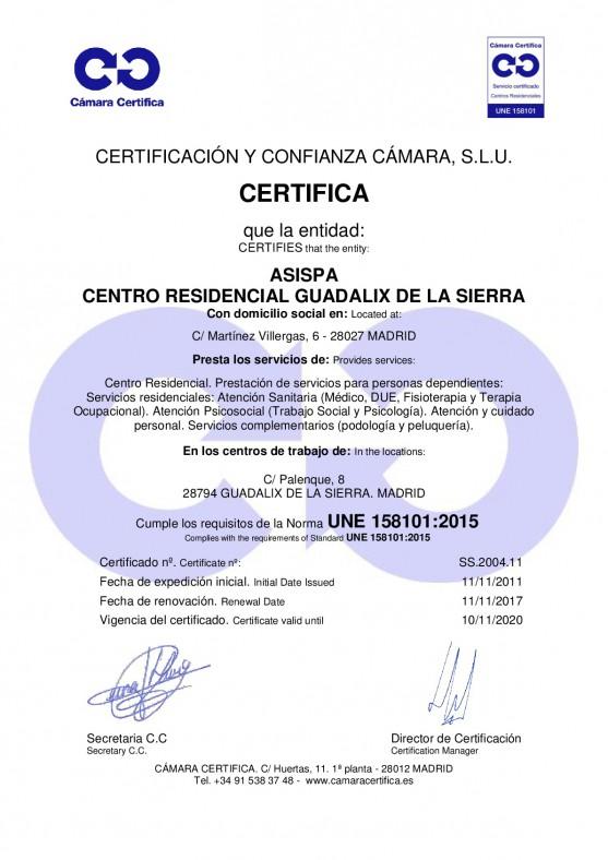 Certificado Guadalix de la Sierra