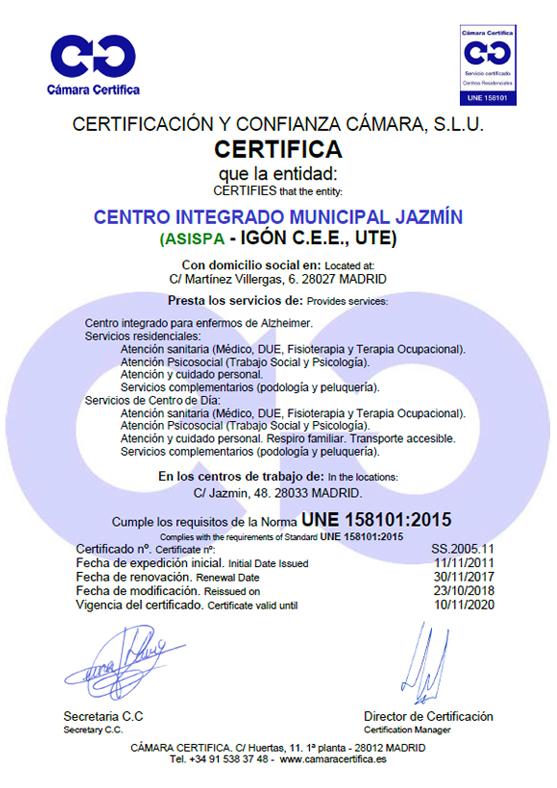Certificado Jazmin