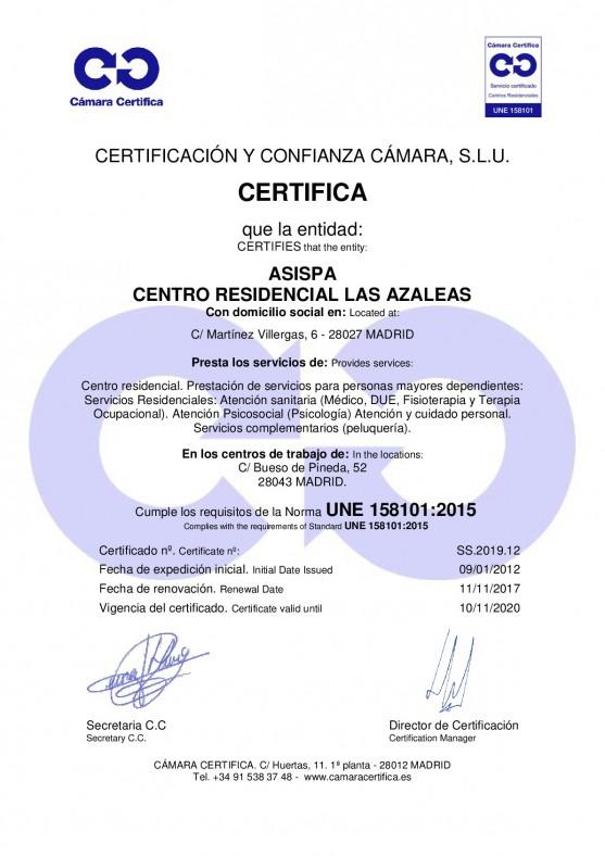 Certificado Las Azaleas