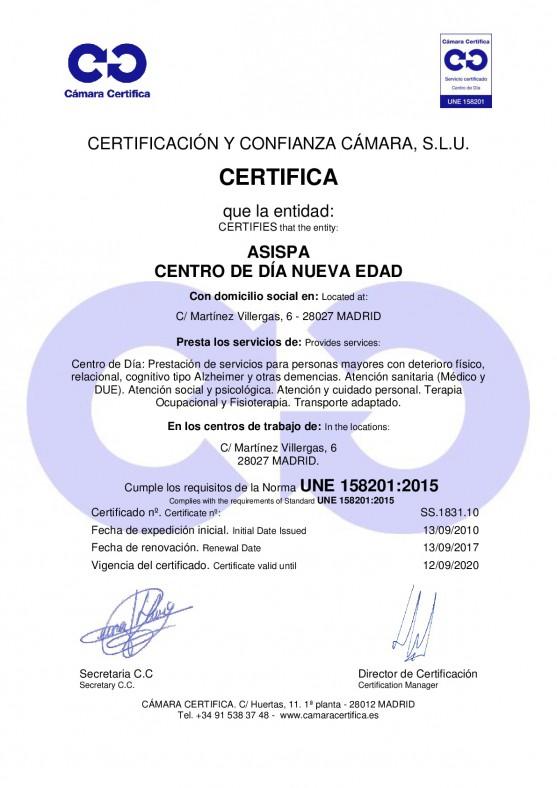 Certificado nueva edad