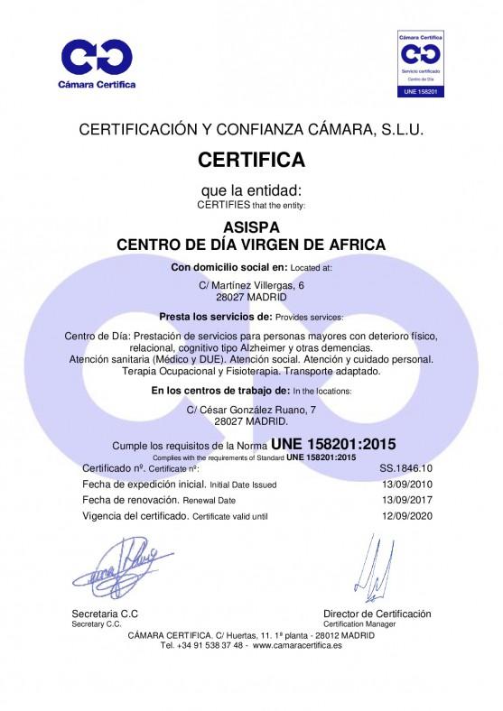 Certificado virgen de africa