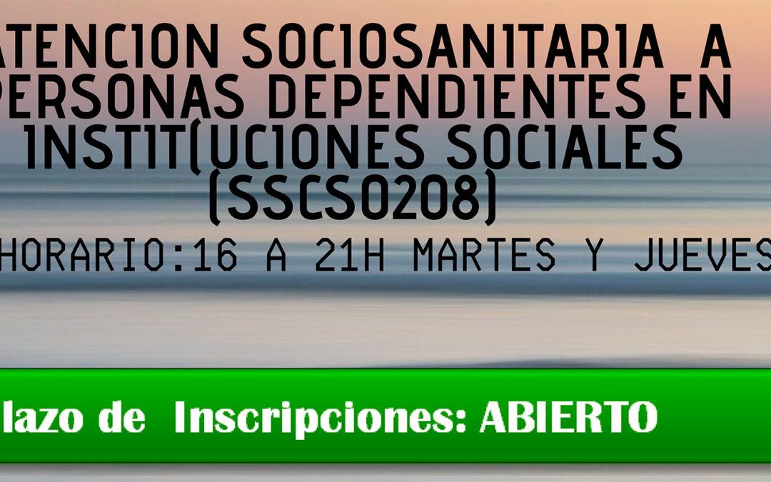 Nuevo Curso de Atención Sociosanitaria a Personas Dependientes en instituciones Sociales
