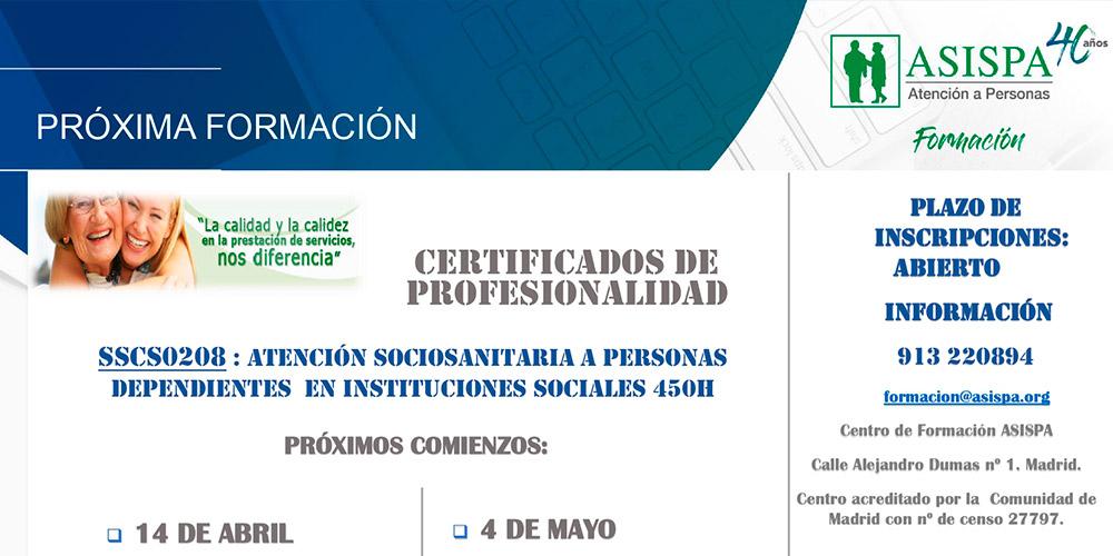 Nuevo certificado: Atención Sociosanitaria a Personas Dependientes en Instituciones Sociales