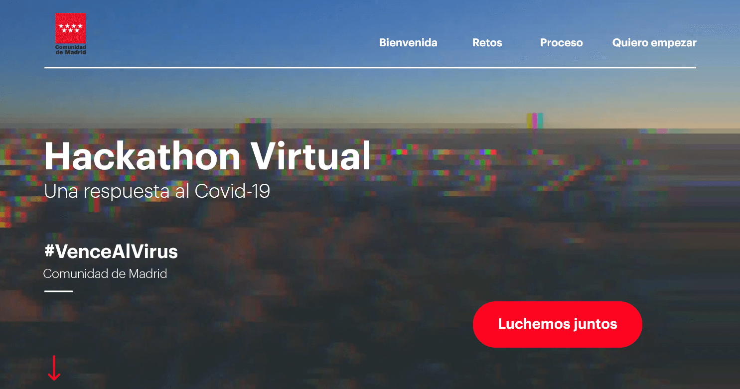 captura de pantalla de la web de hackaton madrid vence al virus