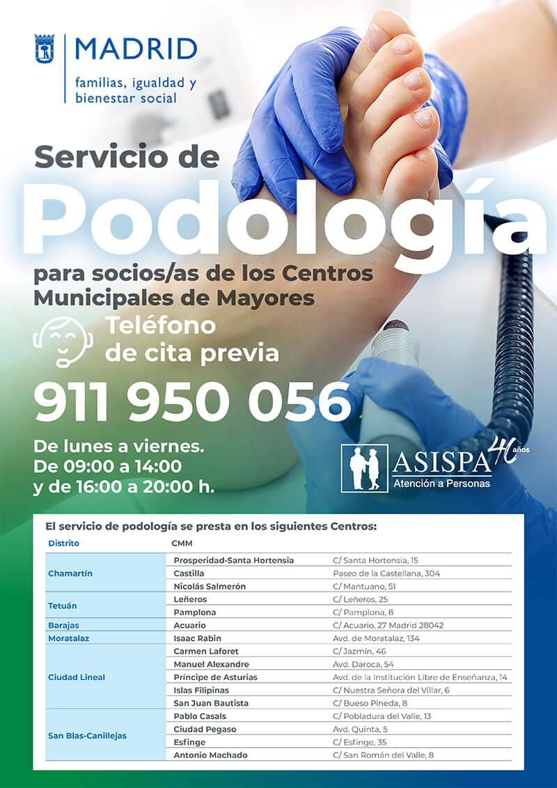 podología en los centros municipales de mayores de madrid