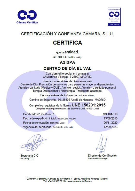 Certificado Centro de Día El Val