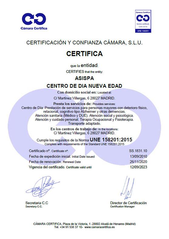 Certificado Centro de Día Nueva Edad
