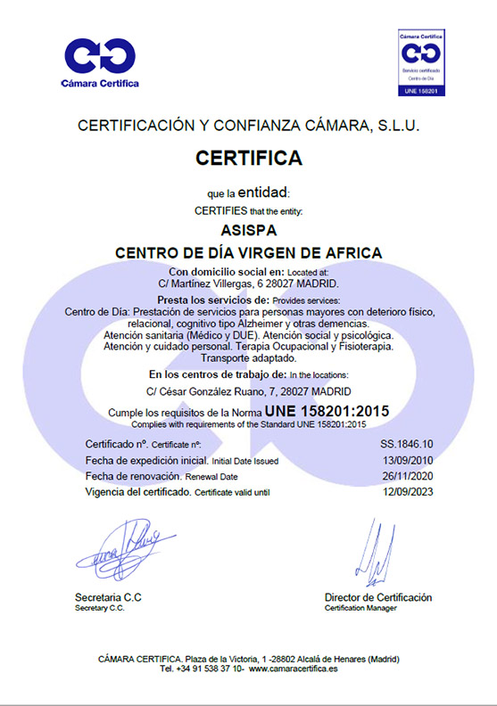 Certificado Centro de Día Virgen de África