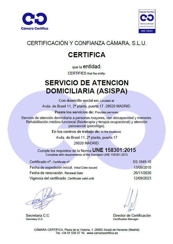 certificado asistencia domiciliaria
