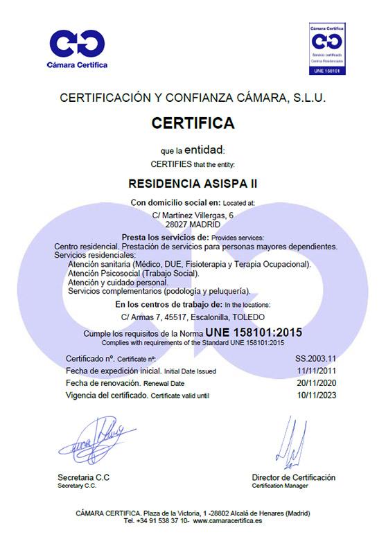 Certificado Residencia ASISPA II