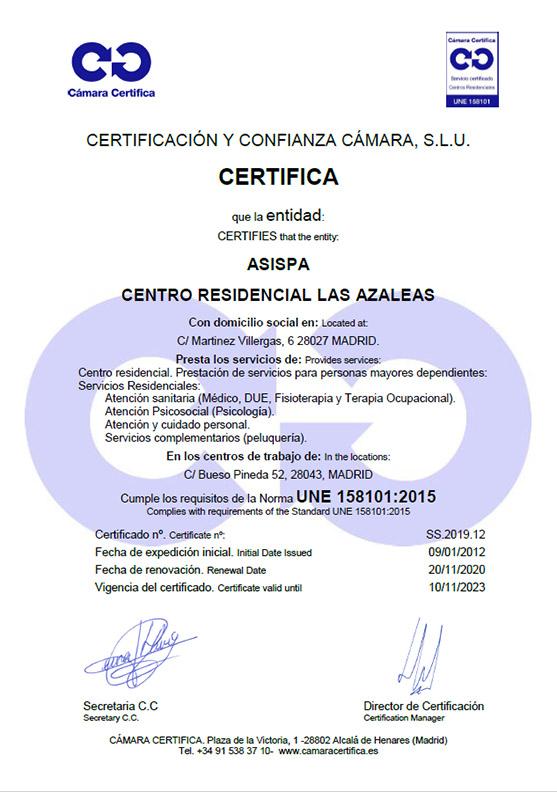 Certificado Residencia Las Azaleas