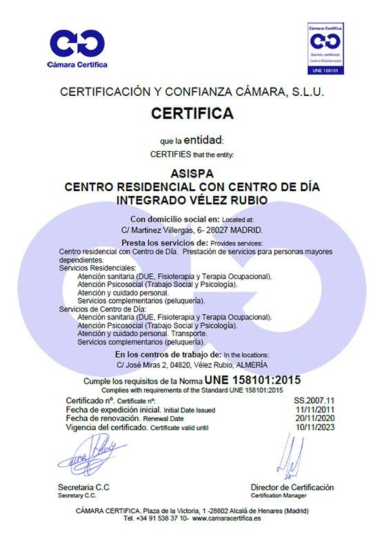 certificado residencia Vélez Rubio